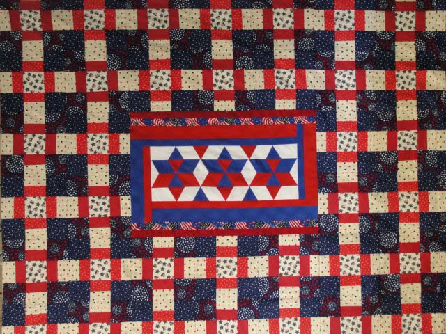 Found in Oh My Stars!, page 48 - Quilt of Valor piced by Virgina P. Knoxville,  TN