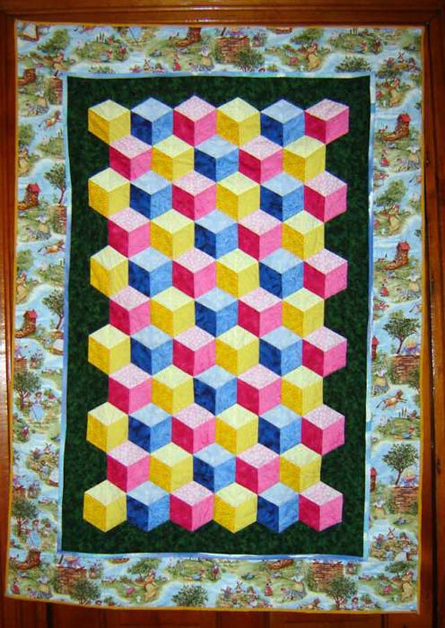 Found in ABC 3-D Tumbling Blocks... and More! - Baby Quilt by Teresa F.