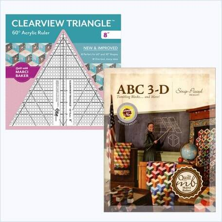 "ABC 3-D Tumbling Blocks Book and 8"" Clearview Triangle Ruler"