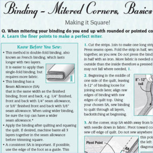 Mitered Corners, Basics