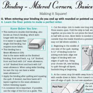 Mitered Corners, Basics