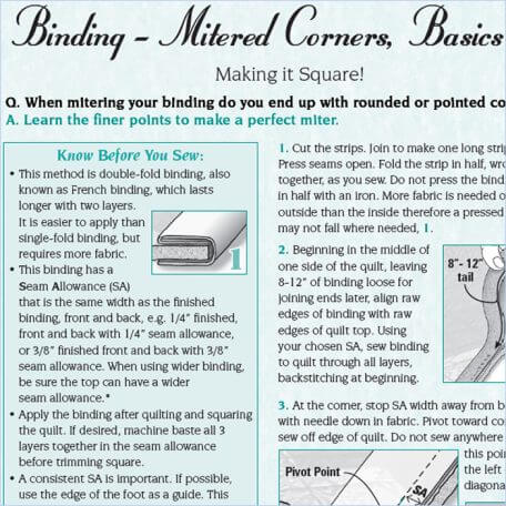 Binding - Mitered Corners, Basics