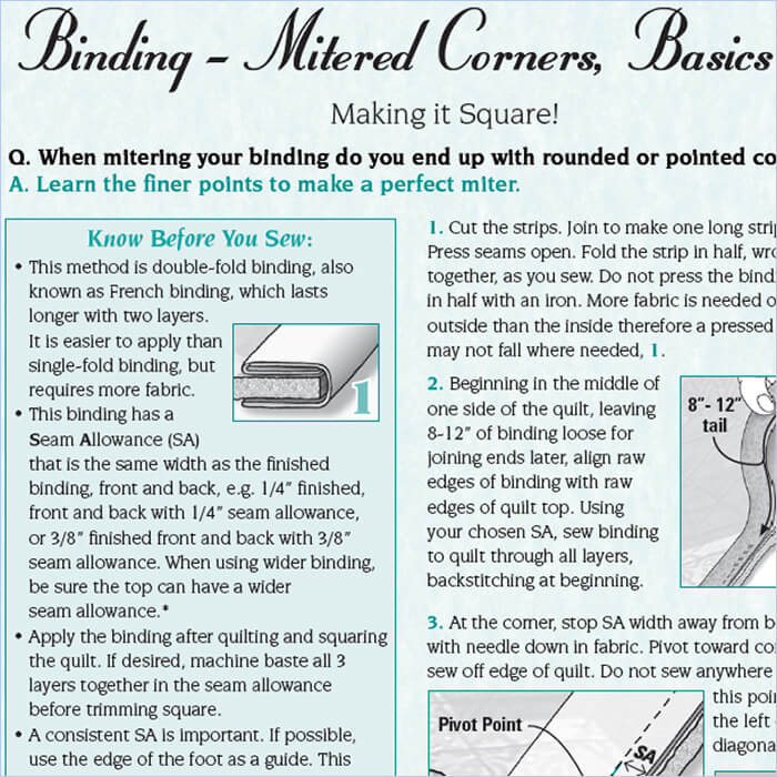 Mitered Corners, Basics › Quilt With Marci Baker